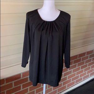 Worthington Black Pucker neck blouse